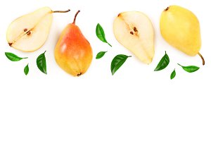 ripe red yellow pear fruits with