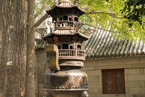 Incense burner at temple at Laoshan