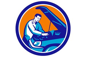 Auto Mechanic Car Repair Circle Retr