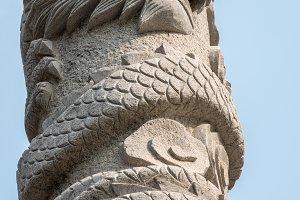 Ancient statue of dragon at Laoshan