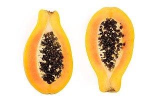 half of ripe papaya isolated on a