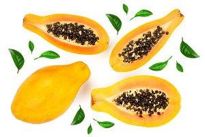 ripe papaya and half isolated on a