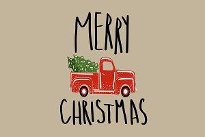 Christmas vintage retro truck.