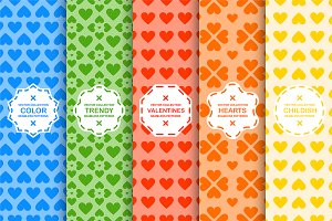 Color seamless cute hurts patterns