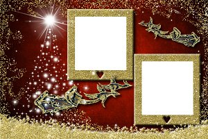 Christmas two photo frames greetings