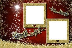 Christmas two photo frames greetings