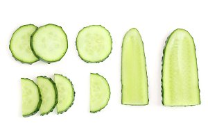 Cucumber slices isolated on white