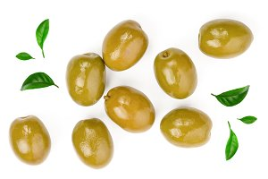 Green olives isolated on a white