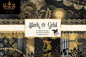 Black and Gold Digital Scrapbook Kit