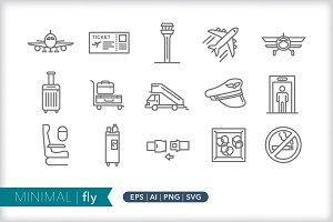Minimal fly icons
