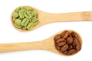 green and brown coffee beans in