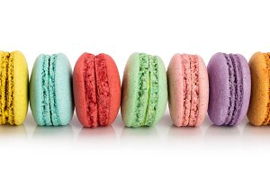 colorful macaroons isolated on white