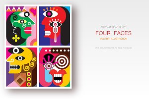 Four Faces vector illustration