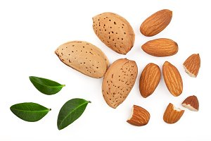 almonds with leaves isolated on