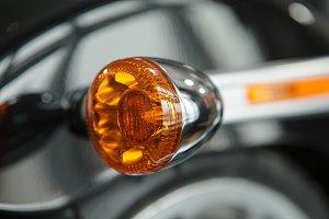 Orange marker bike light. Details of