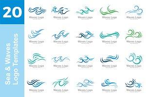 20 Logo Sea & Waves Templates Bundle