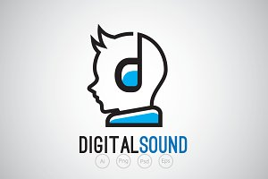 Earphone Kid & Music Logo Template