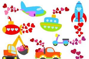 Valentine Transportation Clipart