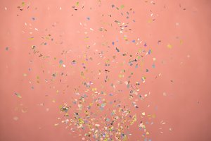 close-up of small confetti falling d