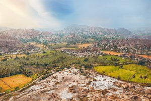 Hampi ancient indian city ruins from