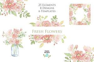 Fresh Flowers- Modern Pink Florals
