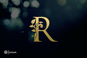 Luxury Gold R Letter Logo