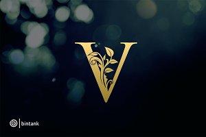 Gold V Letter Logo