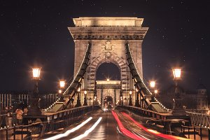 Budapest bridge at night