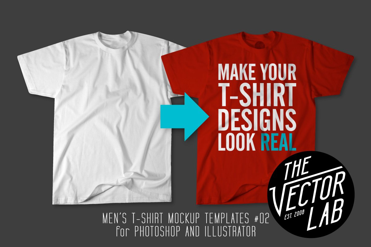 4b200649ac03 Men's T-Shirt Templates #02 ~ Product Mockups ~ Creative Market