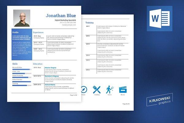 First Resume CV docx Template   Creative Resume Templates ~ Creative Market