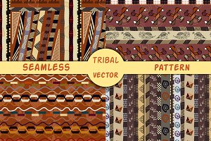 4 Tribal African seamless patterns