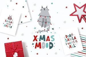 Christmas mood. Dinosaur, lettering