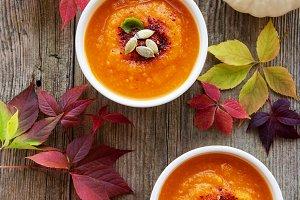 Bowls of pumpkin soup