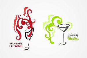 Wine and martini logo template