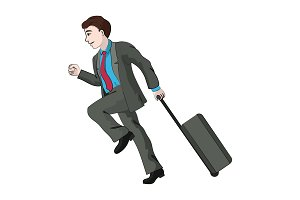 Businessman with a travel suitcase