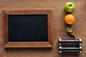 top view of blank wooden chalk board