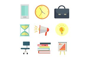 Set of Business Icons in Flat Style