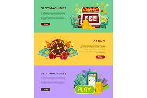 Slot Machines Casino Banners. Online