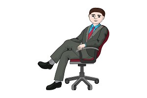 A businessman is sitting chair