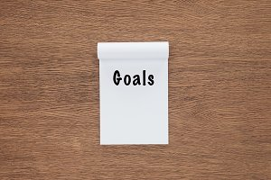 top view of notebook with 'goals' le