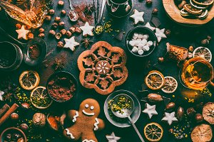 Christmas sweet food flat lay