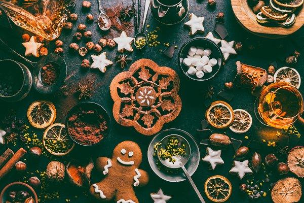 Holiday Stock Photos: VICUSCHKA - Christmas sweet food flat lay