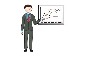 Businessman shows a graph vector