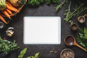 Food background with tablet pc