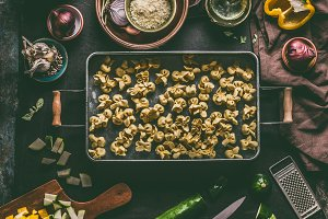 Fresh homemade vegetarian tortellini