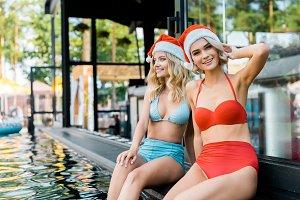 young attractive women in santa clau