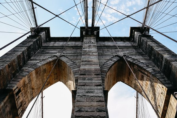 Architecture Stock Photos: Architect´s eye - Low angle view of Brooklyn Bridge in