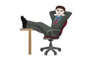 Businessman folded legs on the table