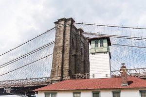 Low angle view of Brooklyn Bridge in