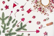 Christmas decorations flat lay  by  in Holidays